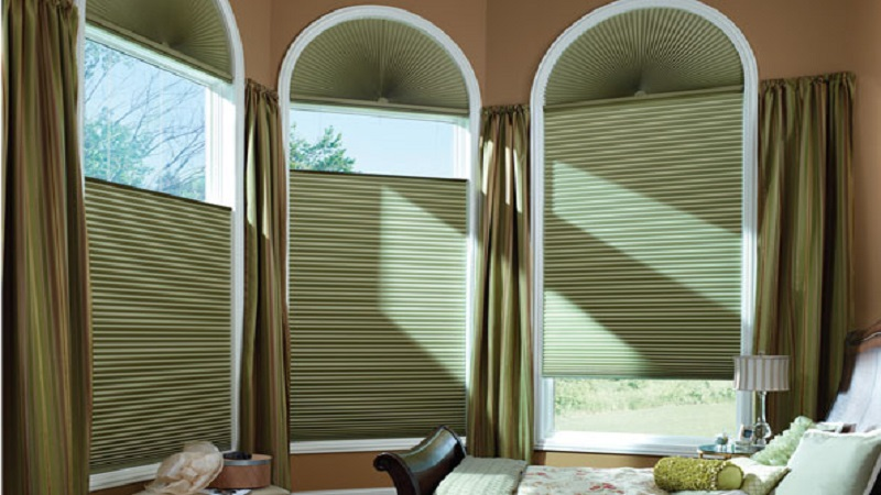 Honeycomb Shades with Arch (3)