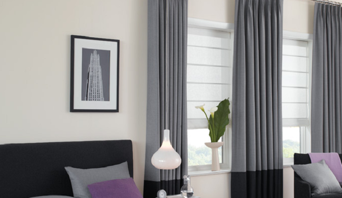 Tuck pleated panels with border in industrial greys available instore