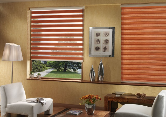 Wood and faux wood shades from Elite Window Fashions in warm fall colors