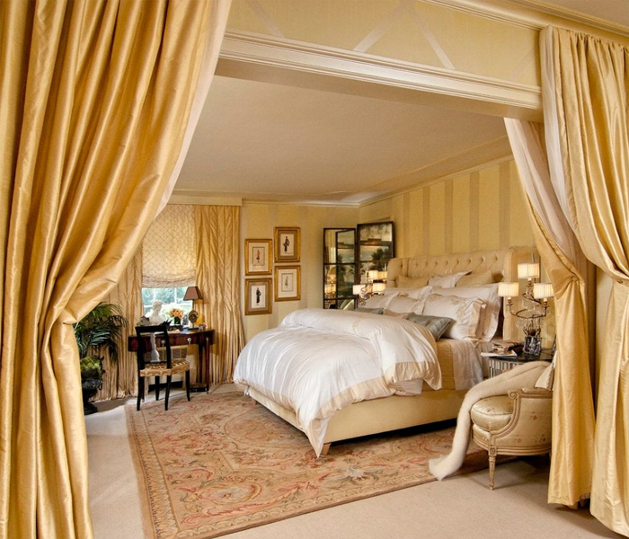 Silk window drapes